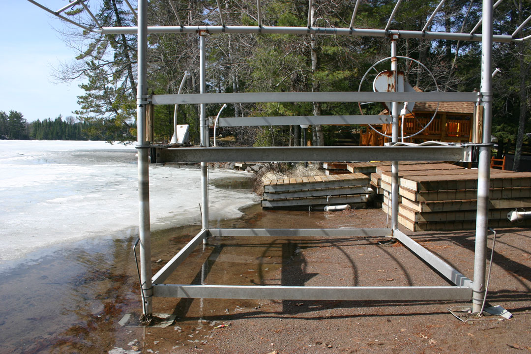 Last fall all of the dock sections were completely on sand.