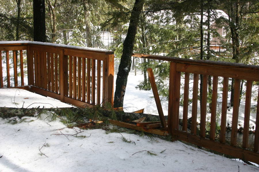 Musky's deck took a hit. I heard it crash during the night.