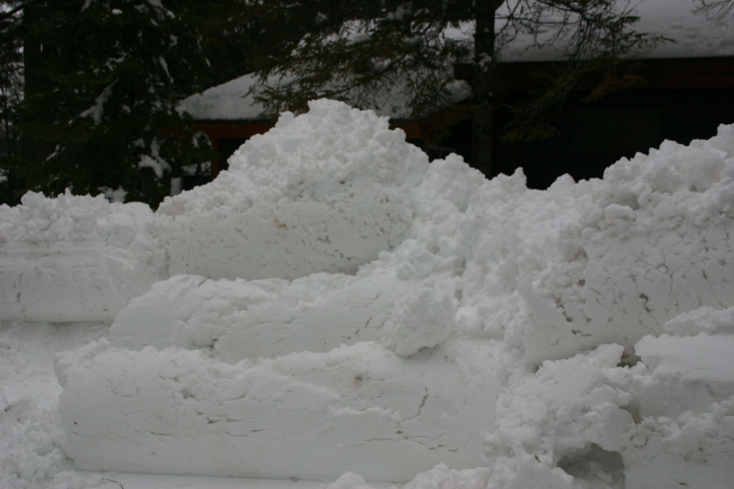 The snow from the driveway in front of Loon and Mallard created this 10 foot + mound of snow.