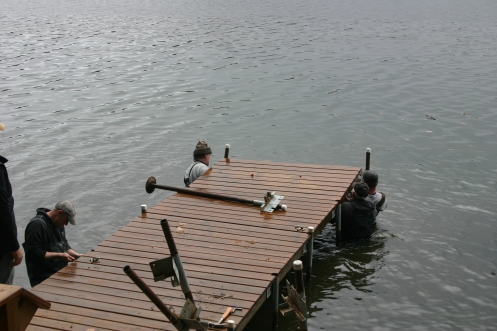 This is usually where someone gets wet. The lodge dock sits in the deepest water.