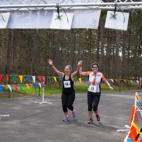 Deb and Jill crossing the finish line.
