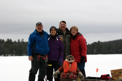 God friends Chris and Rox & Todd and Wendy helped put Charlie out on the ice this year.